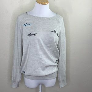 J. Crew merino wool shark sweater black label med